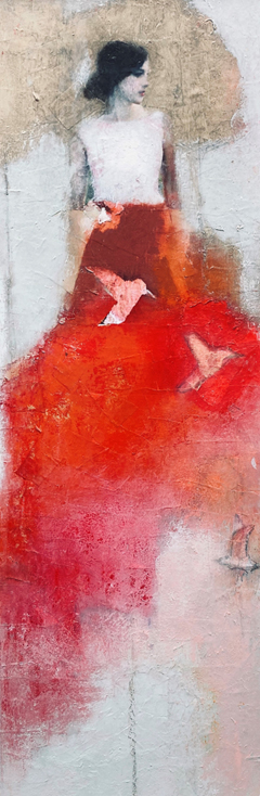 Veronique Paquereau, My red dress, Mixed media on canvas, 90x30 cm, €.675,-