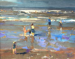 Roos Schuring, A day for swimming, Olieverf op doek, 24x30 in wit/gouden lijst, €.950,-