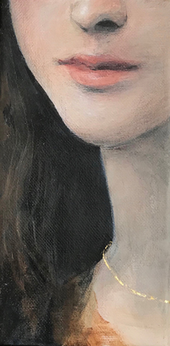 Antje Weber, Girl with necklace, Oil on canvas with real gold leaf, 20x10 cm, €.120,-