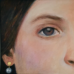 Antje Weber, girl with pearl, Acryl and gold on canvas, 20x20 cm, €.130,- euro