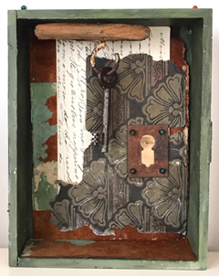 Antje Weber, Keyhole Mystery, Collage in box, 18x14x4 cm, €.110,-