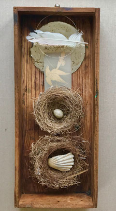 Antje Weber, Make yourself a nest, Mixed media in box, 43x18x7 cm, €.150,-
