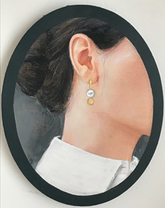 Antje Weber, Girl with earring, Acrlic on canvas with gold leaf, 30x24 cm, €.150,-