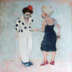 JoAnna Winik, Clown Story 1, Oil on canvas, 76x76 cm, €.3100,- (this work is available but not in the gallery)