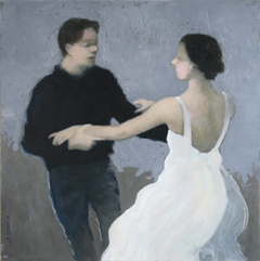 JoAnna Winik, Love stories: Dancers II, oil on wood panel, 41x41 cm, €.1100,-