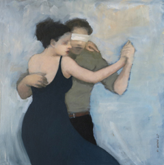 JoAnna Winik, Love stories: Dancers III, oil on wood panel, 41x41 cm, €.1100,-