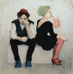JoAnna Winik, Love stories: Milkshake, oil on wood panel, 41x41 cm, €.1100,-