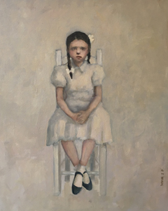 JoAnna Winik, Sitting Girl 2, Oil on canvas, 51x41 cm, €.950,-